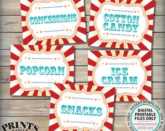 """Carnival Food Signs, Food Carnival Theme Party, Circus Theme Snacks Cotton Candy Ice Cream, Teal/Turquoise, PRINTABLE 8x10/16x20"""" Signs <ID>"""