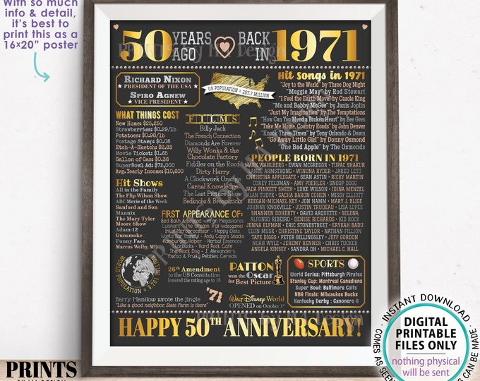"""50th Anniversary Poster Board, Back in 1971 Flashback 50 Years, Married in 1971 Anniversary Gift, PRINTABLE 16x20"""" 1971 Sign <ID>"""