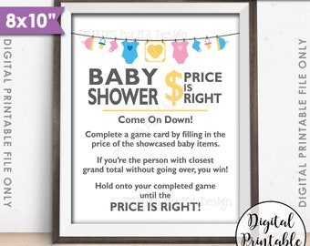 "Price is Right Baby Shower Game Sign, Guess the Prices Activity, Price Game Sign, Gender Neutral Shower, 8x10"" Printable Instant Download"