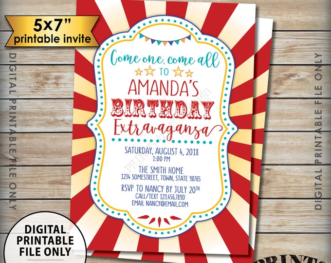 "Carnival Birthday Invitation, Circus Birthday Invitation, Carnival Party Invite, B-day Extravaganza, Digital 5x7"" PRINTABLE Bday Invite"