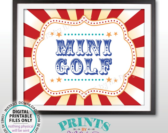 """Mini Golf Carnival Party Sign, Carnival Games, Circus Party Miniature Golf Circus Activities, Birthday, PRINTABLE 8x10/16x20"""" Golf Sign <ID>"""