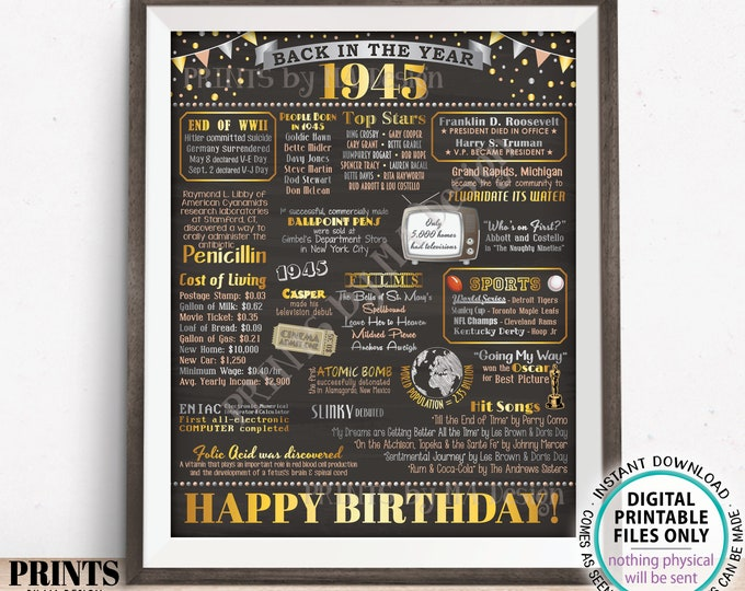 """Back in the Year 1945 Birthday Sign, Flashback to 1945 Poster Board, '45 B-day Gift, Bday Decoration, PRINTABLE 16x20"""" 1945 Sign <ID>"""