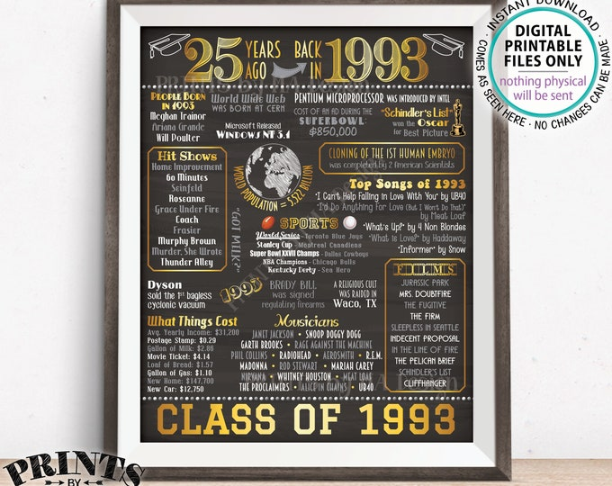 """Class of 1993 Reunion 25 Year Reunion Back in 1993 Flashback to 1993 25 Years Ago, Gold, PRINTABLE 8x10/16x20"""" Chalkboard Style Sign <ID>"""