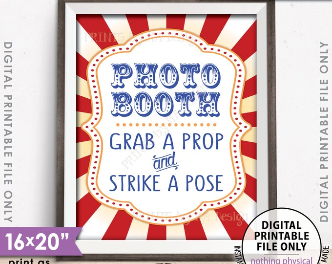 "Photobooth Sign Carnival Theme Party Sign, Carnival Photo Booth, Carnival Game, Circus Theme Party, PRINTABLE 8x10/16x20"" Carnival Sign <ID>"