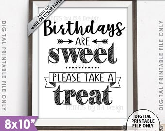 "Birthdays are Sweet Please Take a Treat Birthday Party Favors Sweet Treats, Candy Bar, Cake, Cupcakes, Printable 8x10"" Instant Download"