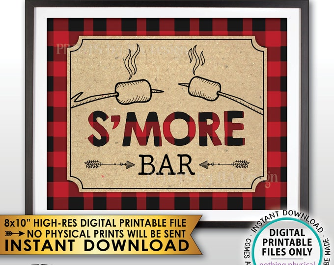 "S'more Bar Sign, Lumberjack Smore Bar, S'mores Station, Campfire, Red Checker Buffalo Plaid, Instant Download PRINTABLE 8x10"" Smore Sign"