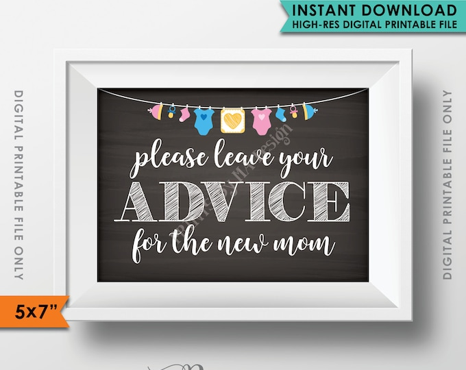 "Advice for the New Mom, Your Advice Baby Tips Baby Shower Sign Shower, Neutral Clothesline, Instant Download 5x7"" Chalkboard Style Printable"