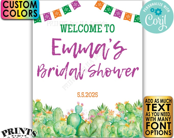 """Cactus Bridal Shower Welcome Sign, Southwest Succulents, Mexican Flags, One Custom PRINTABLE 8x10/16x20"""" Sign <Edit Yourself with Corjl>"""