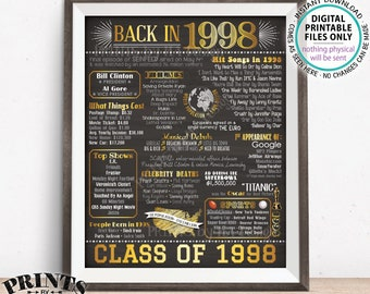 "Class of 1998 Flashback Poster, Reunion Back in 1998 Flashback to 1998, Back in '98, Gold, PRINTABLE 8x10/16x20"" Chalkboard Style Sign <ID>"