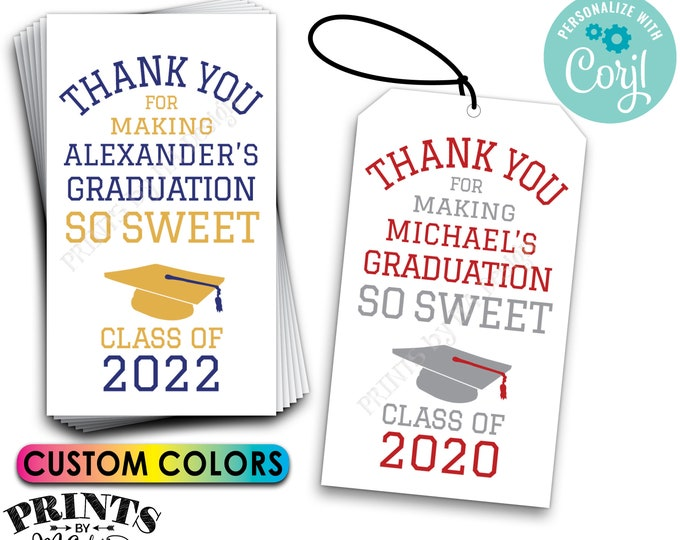 "Graduation Party Favor Labels, Graduation is Sweet Treat Goodie Bag Tags or Cards, PRINTABLE 8.5x11"" Digital File <Edit Yourself with Corjl>"