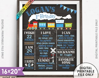 "Train Birthday Poster, 1st Birthday Board Train Theme Birthday Stats Milestones, Chalkboard Style PRINTABLE 8x10/16x20"" Custom B-day Board"
