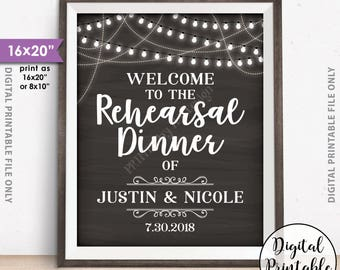 "Rehearsal Dinner Sign, Welcome to the Wedding Rehearsal Sign, Personalized PRINTABLE 8x10/16x20"" Chalkboard Style Rehearsal Dinner Poster"