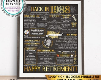 "Retirement Party Decorations, Back in 1988 Poster, Flashback to 1988 Retirement Party Decor, PRINTABLE 16x20"" Sign <ID>"