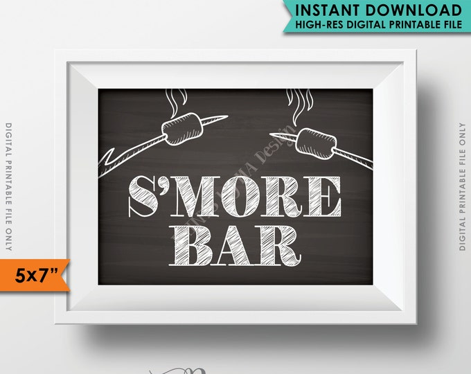 """S'more Bar Sign, Party S'more, Roast S'mores, Wedding, Campfire, Party, Chalkboard Bar Sign, 5x7"""" Instant Download Digital Printable File"""