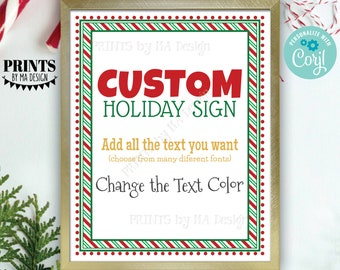 "Custom Holiday Sign, Christmas Elf, Candy Cane Stripes, Choose Your Text, Create ONE PRINTABLE 8x10/16x20"" Xmas Sign <Edit Yourself w/Corjl>"