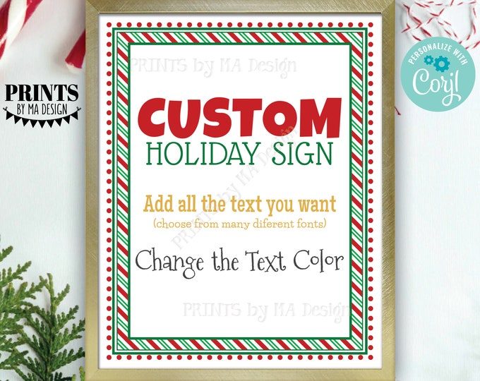 """Custom Holiday Sign, Christmas Elf, Candy Cane Stripes, Choose Your Text, Create ONE PRINTABLE 8x10/16x20"""" Xmas Sign <Edit Yourself w/Corjl>"""