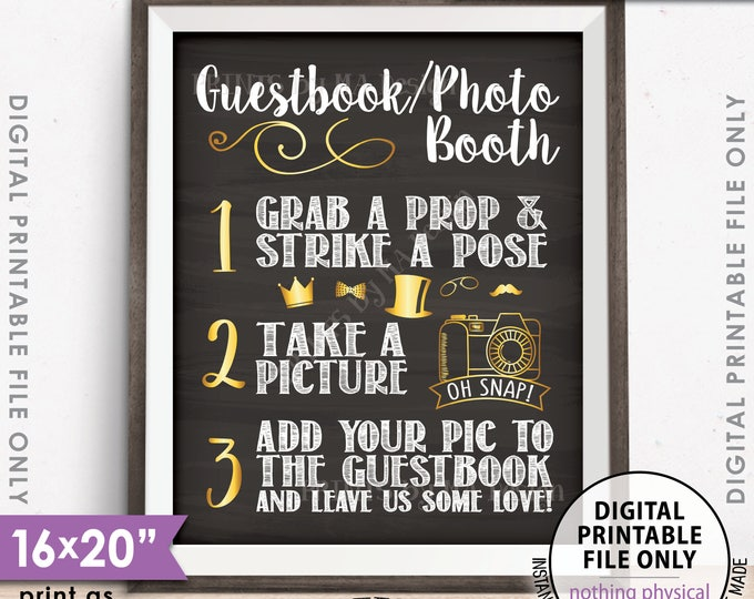"""Guestbook Photobooth Sign, Add photo to the Guest Book Sign, Photo Booth Wedding Sign, PRINTABLE 8x10/16x20"""" Chalkboard Style Sign <ID>"""
