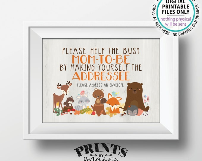 "Address an Envelope Sign, Help the Mom-to-Be Address an Envelope, Forest Friends, PRINTABLE 5x7"" Woodland Animal Theme Baby Shower Sign <ID>"