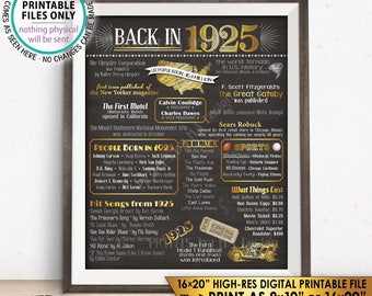 "1925 Flashback Poster, Flashback to 1925 USA History Back in 1925 Birthday Party, Born in 1925, PRINTABLE 16x20"" Sign <ID>"