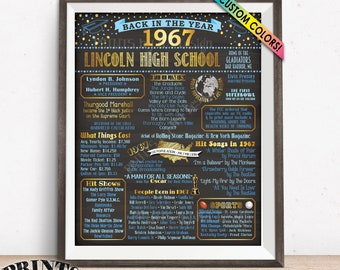 """Back in 1967 Poster Board, Class of 1967, Flashback to 1967 Graduating Class, High School Reunion Decoration, Custom PRINTABLE 16x20"""" Sign"""