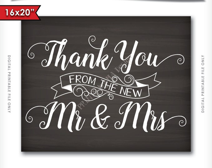 Thank You from the New Mr & Mrs Wedding Sign Printable Chalkboard Poster Photo Prop, Thank You Cards, Thanks, INSTANT DOWNLOAD Digital File