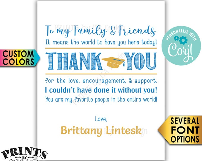 Graduation Thank You Sign, Thanks from the Grad Poster, PRINTABLE Graduation Party Decoration <Edit Yourself with Corjl>