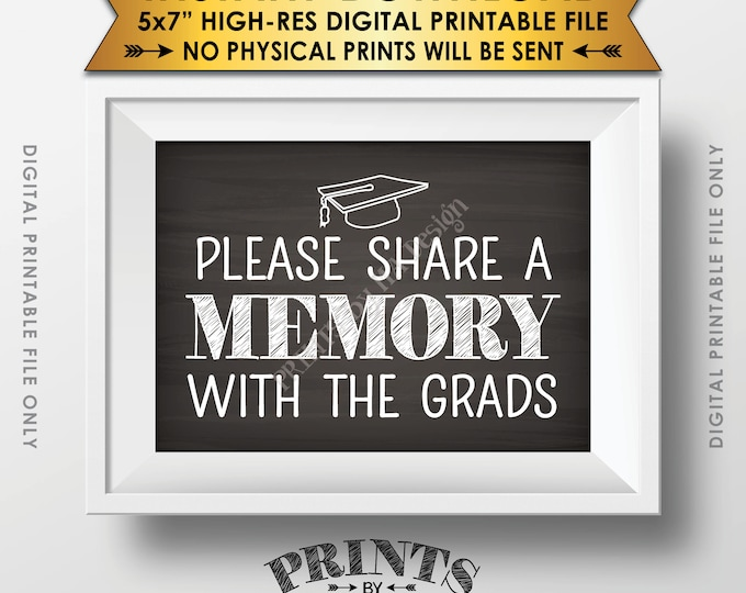 """Share a Memory with the Grads Graduation Party Decorations, Graduates, Share Memories, 5x7"""" Chalkboard Style Printable Instant Download"""