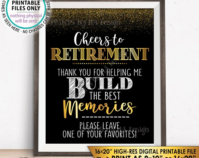 "Retirement Party Sign, Please Leave Retirement Memories, Cheers to Retirement Celebration, Black & Gold 8x10"" PRINTABLE Instant Download"
