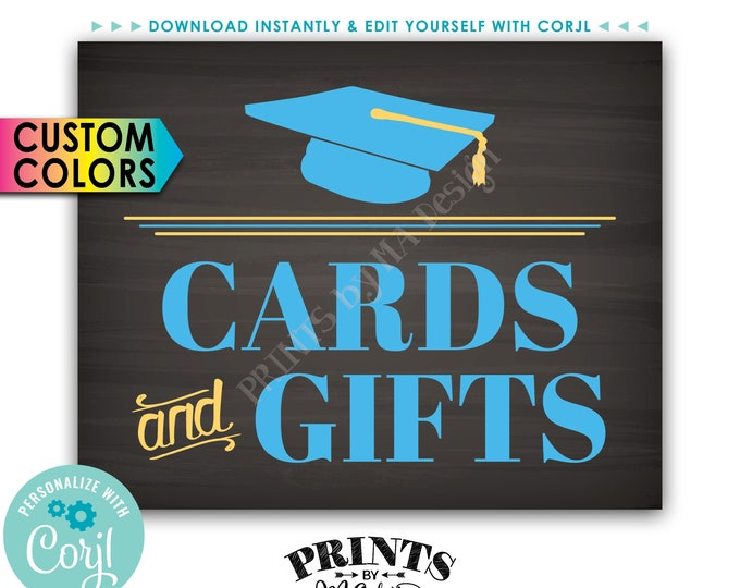 """Grad Cards and Gifts Sign, Gift Table, Graduation Party Decoration, PRINTABLE 8x10"""" Chalkboard Style Sign <Edit Colors Yourself with Corjl>"""