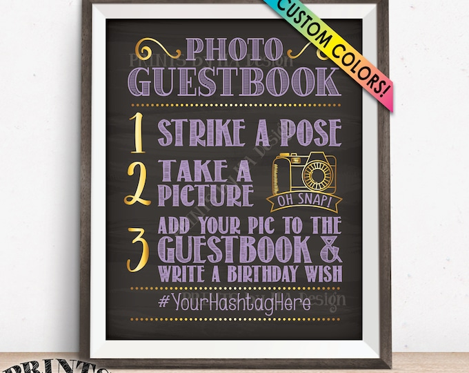"Birthday Photo Guestbook Sign, Hashtag Sign, Add photo to the Guest Book & Write a Bday Wish, PRINTABLE 8x10/16x20"" Chalkboard Style Sign"