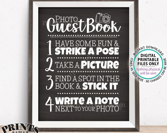 """Photo Guestbook Sign, Guest Book Wedding Sign, Graduation Memorybook, Retirement Scrapbook, PRINTABLE 8x10/16x20"""" Chalkboard Style Sign <ID>"""