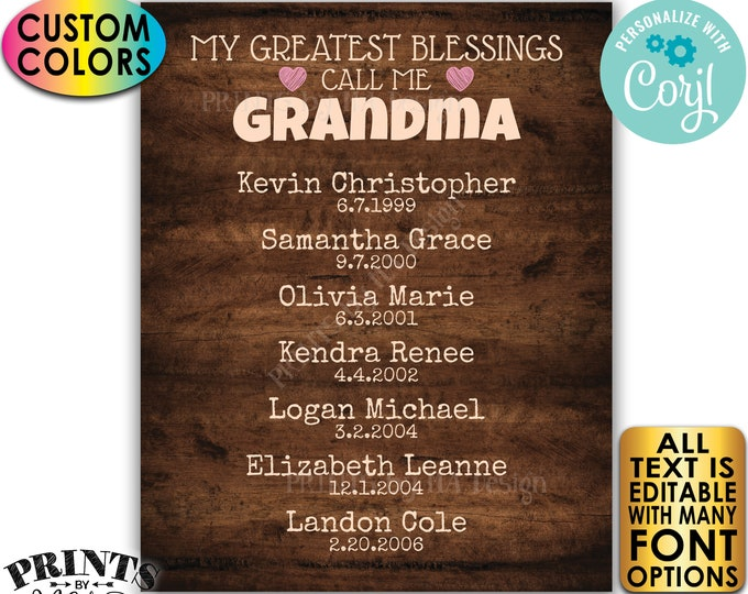 My Greatest Blessings Grandparent Gift, Grandma, Grandpa, Grandkids, PRINTABLE Rustic Wood Style Grandchildren Sign <Edit Yourself w/Corjl>
