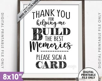 """Thank You for Helping Me Build Memories Please Sign a Card, Graduation Party, Retirement, Birthday, Bon Voyage, PRINTABLE 8x10"""" Sign <ID>"""