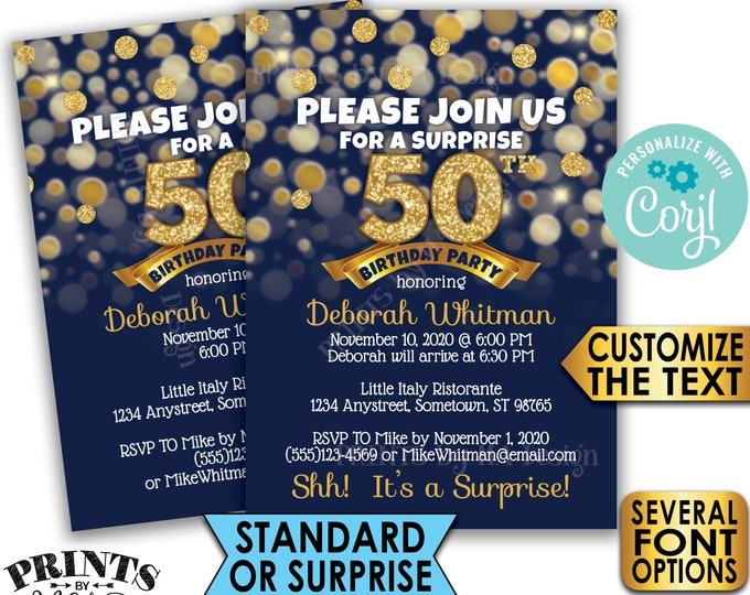 "Navy Blue & Gold Birthday Party Invitation, Standard or Surprise Party, PRINTABLE 5x7"" Birthday Invite <Edit Yourself with Corjl>"