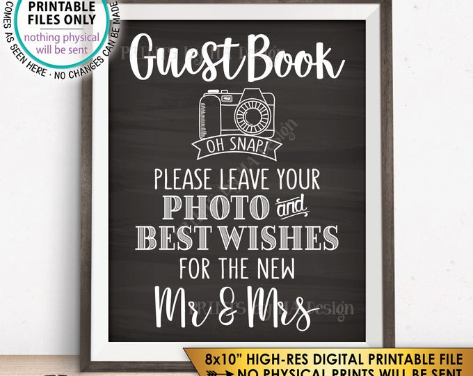 """Guestbook Photo Sign, Leave Photo and Best Wishes for the New Mr & Mrs, Chalkboard Style PRINTABLE 8x10"""" Instant Download Wedding Sign"""
