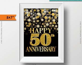 "50th Anniversary Card, 50th Golden Fiftieth Anniversary Card, Happy Anniversary Sign, Black & Gold Glitter 5x7"" PRINTABLE Instant Download"