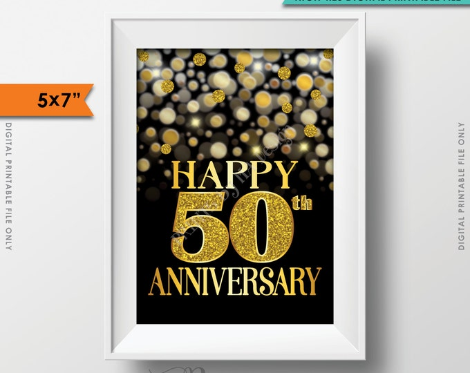 """50th Anniversary Card, 50th Golden Fiftieth Anniversary Card, Happy Anniversary Sign, Black & Gold Glitter 5x7"""" PRINTABLE Instant Download"""