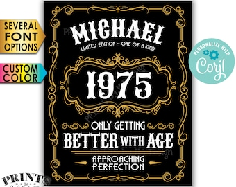 "Vintage Birthday Sign, Better with Age Liquor Themed Party, Custom Name Year & Color, PRINTABLE 8x10/16x20"" Sign <Edit Yourself with Corjl>"