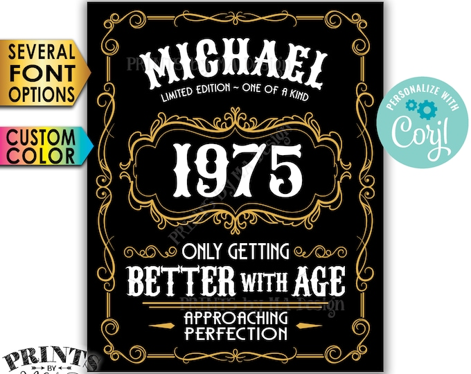 """Vintage Birthday Sign, Better with Age Liquor Themed Party, Custom Name Year & Color, PRINTABLE 8x10/16x20"""" Sign <Edit Yourself with Corjl>"""