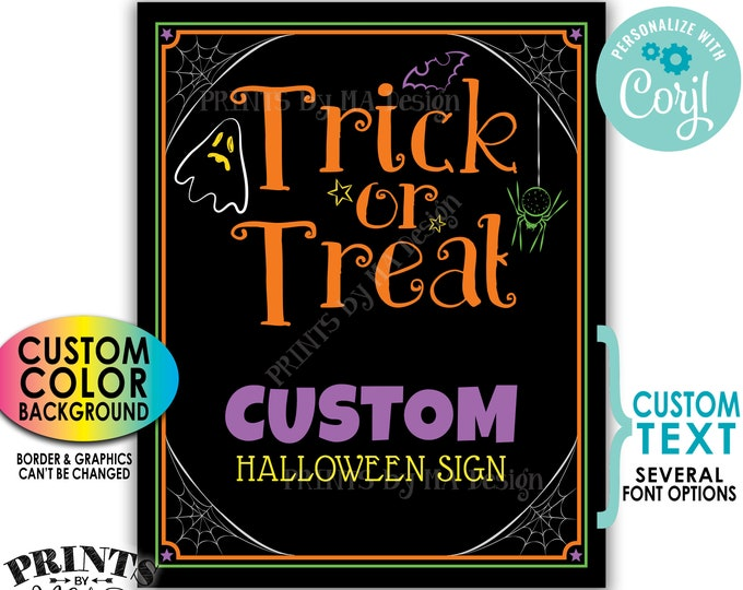 """Custom Halloween Trick or Treat Sign, Choose Your Text, One Custom PRINTABLE 8x10/16x20"""" Halloween Party Sign <Edit Yourself with Corjl>"""