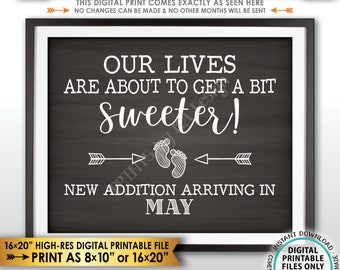 Sweet Pregnancy Announcement Sign Our Lives are About to Get a Bit Sweeter in MAY, Chalkboard Style PRINTABLE Pregnancy Reveal Sign <ID>