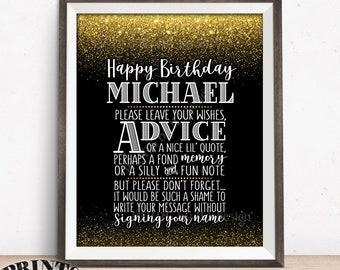 "Birthday Advice Sign, Please leave your Advice, Wish, Memory Message, Birthday Party, PRINTABLE 8x10"" Black & Gold Glitter B-day Party Decor"
