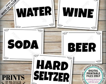 """Beverage Station Signs, Graduation Party Drinks, Soda Water Beer Wine Hard Seltzer, Five PRINTABLE 8x10/16x20"""" B&W Grad Party Signs <ID>"""