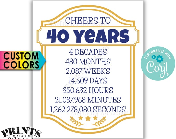 "Cheers to 40 Years, 40th Birthday, 40th Anniversary, Cheers & Beers Party, PRINTABLE 8x10/16x20"" Sign <Edit Colors Yourself with Corjl>"