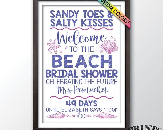 "Beach Bridal Shower Countdown Sign, Beach Wedding Shower, Bridal Shower Welcome Poster, Custom PRINTABLE 24x36"" Beach Bridal Shower Sign"