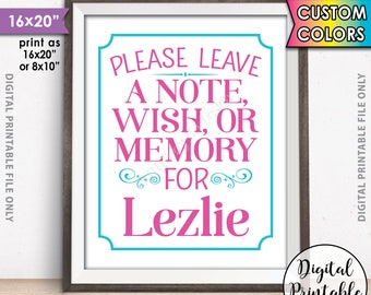 """Please Leave a Message Sign, Leave a Note Wish Memory, Write a Memory, Birthday Party Decor, Graduation Party, PRINTABLE 8x10/16x20"""" Sign"""