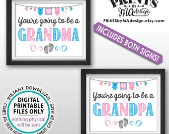 """Grandparents Pregnancy Announcement, You're Going to be a Grandma & Grandpa, Pregnant, Expecting, Two 8x10/16x20"""" Baby Reveal Signs <ID>"""