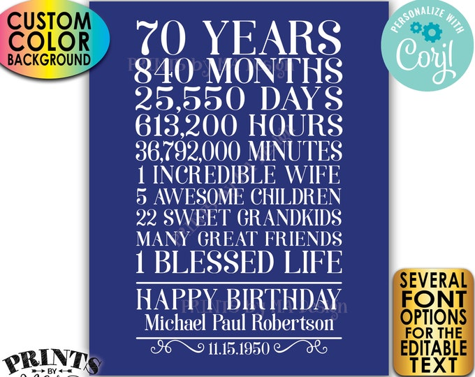 """70th Birthday Gift for a Man, 70 Years Broken Down, Custom PRINTABLE 8x10/16x20"""" Sign, Color Background <Edit Yourself with Corjl>"""