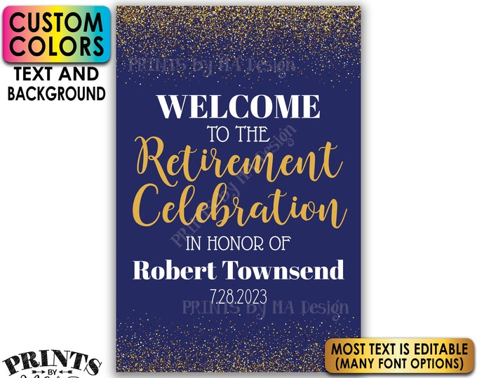 """Retirement Party Sign, Welcome to the Retirement Celebration, Gold Glitter, Custom PRINTABLE 24x36"""" Sign <Edit Yourself with Corjl>"""