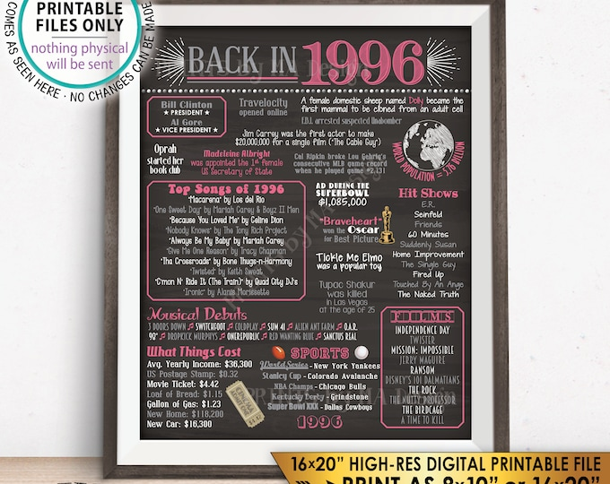 "1996 Flashback Poster, Back in 1996 Birthday Anniversary Reunion, 1996 USA History, Pink, PRINTABLE 16x20"" 1996 Sign <ID>"